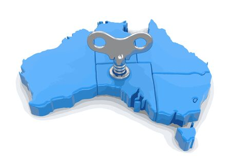 Map of Australia with winding key. Image with clipping path.