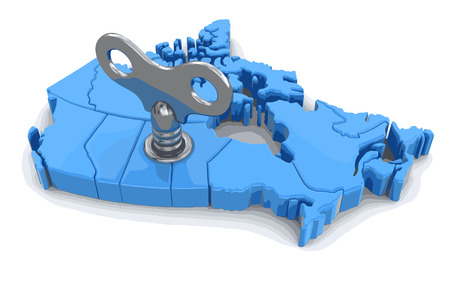 Map of Canada with winding key. Image with clipping path. Illustration