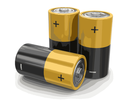 Batteries. Image with clipping path Illustration
