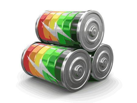 lithium: Batteries. Image with clipping path Illustration