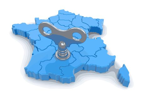 Map of France with winding key. Image with clipping path. Illustration