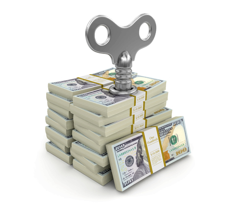 Pile of Dollars with key. Image with clipping path