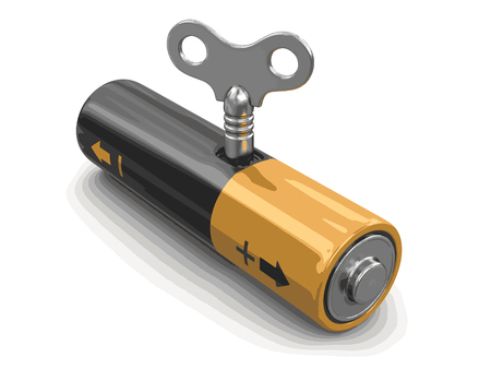 Battery with Winding key. Image with clipping path