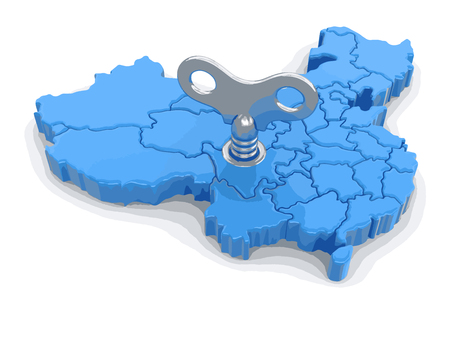 Map of China with winding key. Image with clipping path.