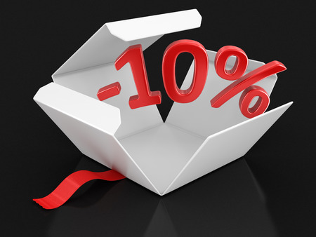 Open package with -10%. Image with clipping path Stock Photo