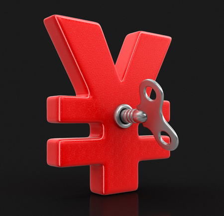Yen Sign with winding key. Image with clipping path Stock Photo