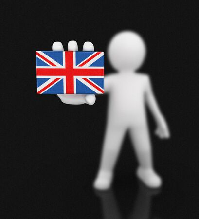 Man and United Kingdom flag. Image with clipping path Stock Photo