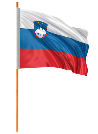 3D Slovene flag with fabric surface texture. White background. Banco de Imagens