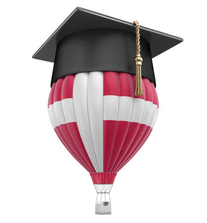 Hot Air Balloon with Danish Flag and Graduation cap. Image with clipping path