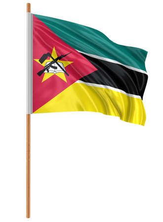 3D flag of Mozambique with fabric surface texture. White background.