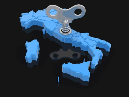 Map of Italy with winding key. Image with clipping path.