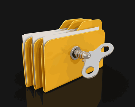 storage compartment: Folder and files with winding key. Image with clipping path Illustration