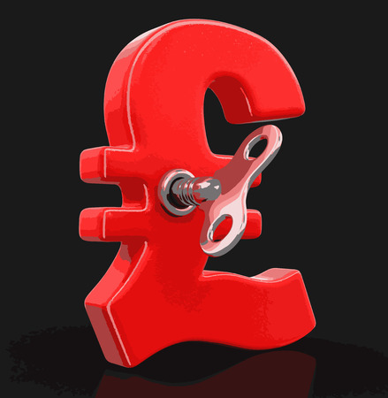 Pound Sign with winding key. Image with clipping path