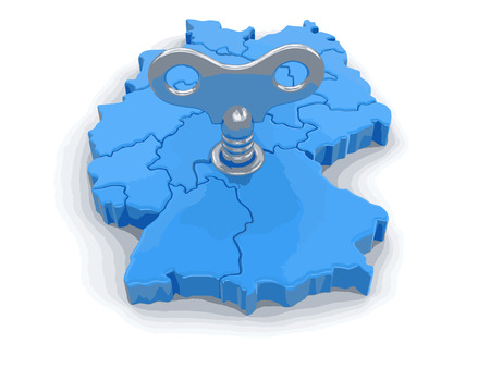 winder: Map of Germany with winding key. Image with clipping path.