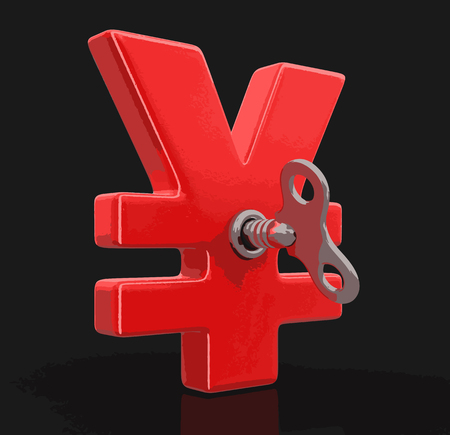winder: Yen Sign with winding key. Image with clipping path Illustration