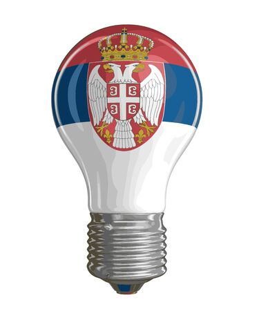 Light bulb with Serbian flag. Image with clipping path Ilustração