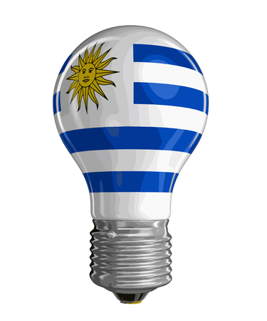 Light bulb with Uruguayan flag. Image with clipping path