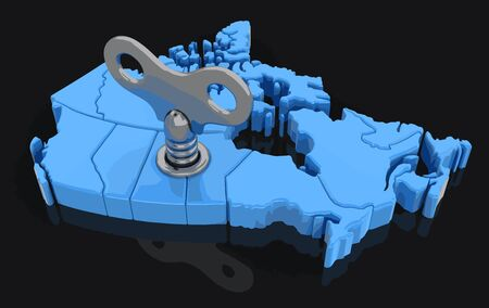 winder: Map of Canada with winding key. Image with clipping path. Illustration
