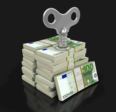 Pile of Euros with winding key. Image with clipping path