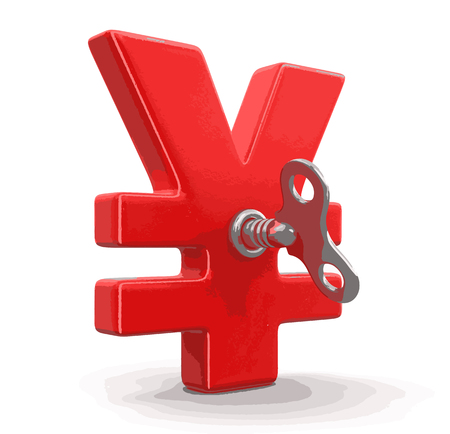Yen Sign with winding key. Image with clipping path Illustration