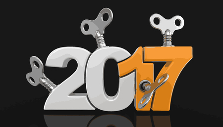 New Year 2017 with winding keys. Image with clipping path.
