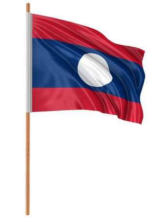 3D flag of Laos with fabric surface texture. White background. Banco de Imagens
