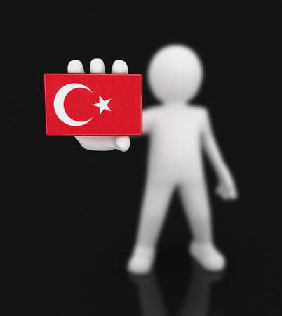 Man and Turkish flag. Image with clipping path Imagens