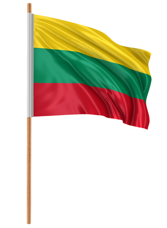 3D Lithuanian flag with fabric surface texture. White background.