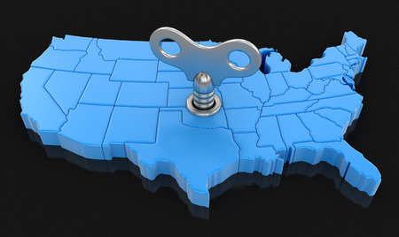 Map of USA with winding key. Image with clipping path.