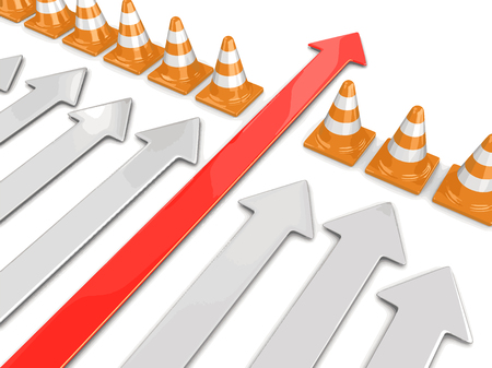 Arrow and traffic cones. Image with clipping path
