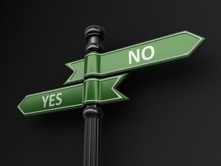 denial: Yes and No pointers on signpost. Image with clipping path Stock Photo