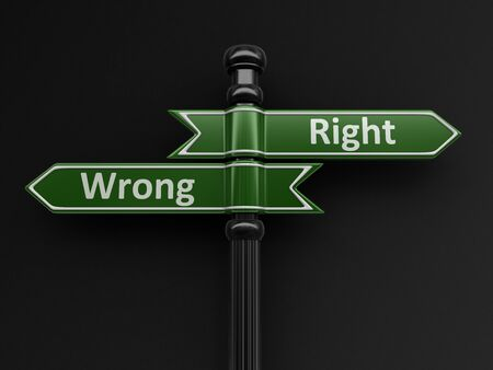 Wrong and wright pointers on signpost. Image with clipping path Stock Photo
