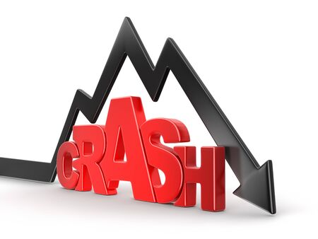 Word crash with arrow down. Image with clipping path