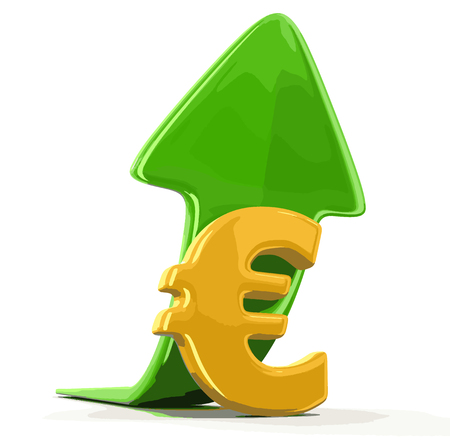 Euro sign and arrow up. Image with clipping path