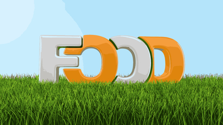 Food text on grass. Image with clipping path Ilustrace
