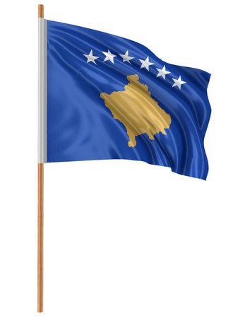 3D Kosovo flag with fabric surface texture. White background. Banco de Imagens