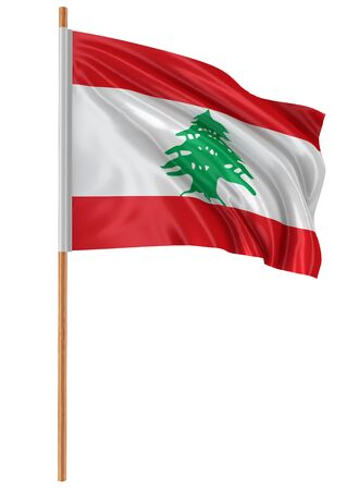 3D flag of Lebanon with fabric surface texture. White background.