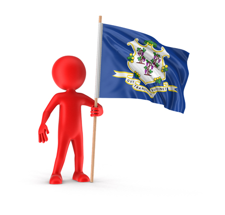 Man and flag of the US state of Connecticut. Image with clipping path Stock Photo