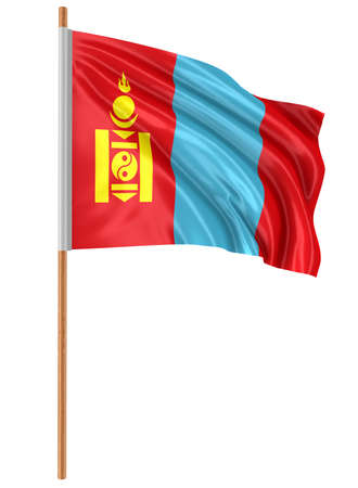 3D flag of Mongolia with fabric surface texture. White background.