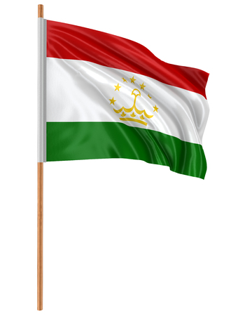 3D Tadjik flag with fabric surface texture. White background.