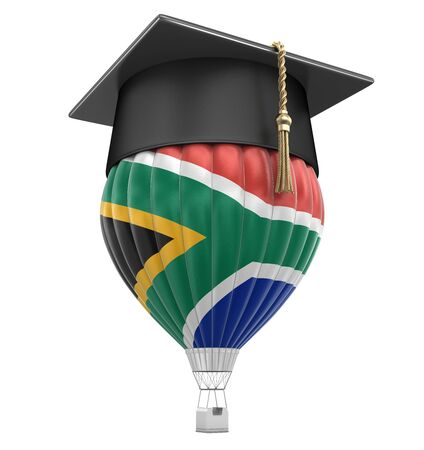 Hot Air Balloon with flag of South African republic and Graduation cap. Image with clipping path