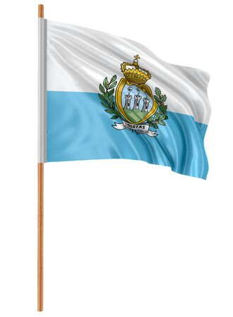 3D flag of San Marino with fabric surface texture. White background.