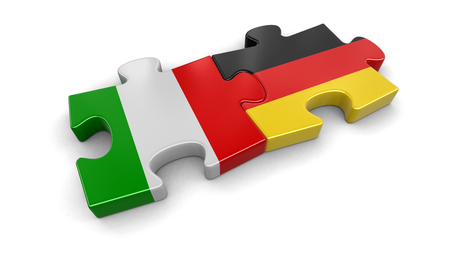 Italy and Germany puzzle from flags. Image with clipping path