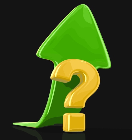 Question sign with arrow up. Image with clipping path