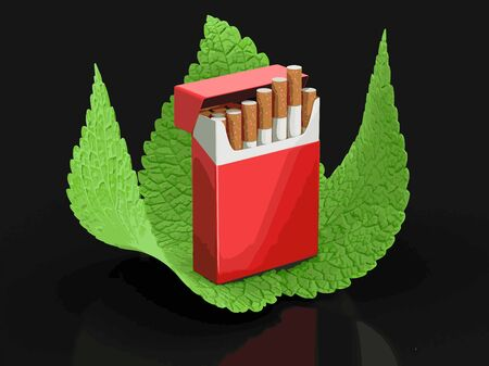 cigarette pack: Cigarette Pack and leaves. Image with clipping path