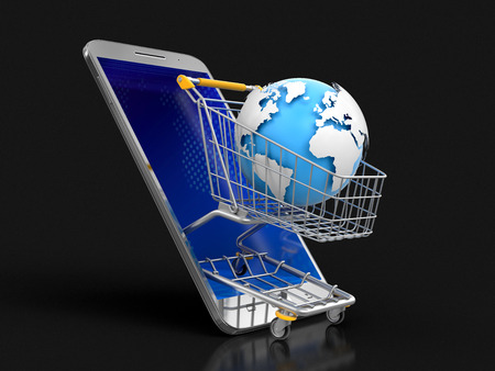 Touchscreen smartphone and Shopping Basket with globe. Image with clipping path Banco de Imagens