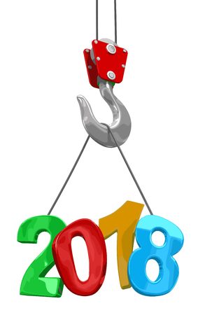 2018 on crane hook. Image with clipping path.