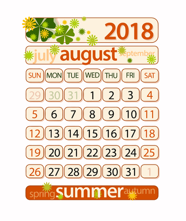 Calendar - August 2018 (clipping path included) Çizim