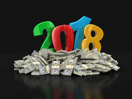 New Year 2018 and Dollars. Image with clipping path