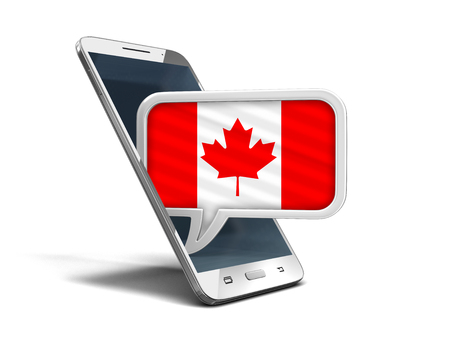 Touchscreen smartphone and Speech bubble with Canadian flag. Image with clipping path Stock Photo